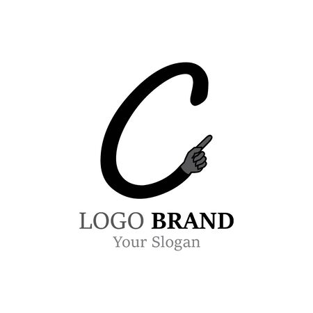 C Letter logo with Hand creative concept template design Ilustrace