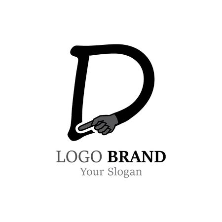 D Letter logo with Hand creative concept template design Ilustrace
