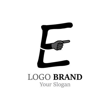 E Letter logo with Hand creative concept template design Ilustrace
