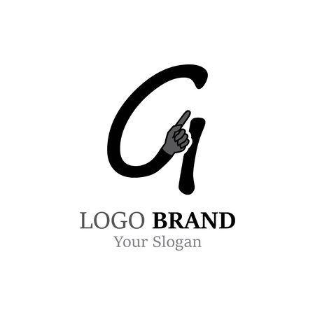 G Letter logo with Hand creative concept template design Ilustrace