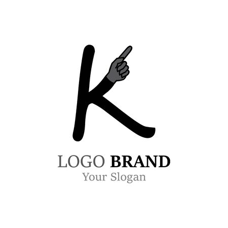 K Letter logo with Hand creative concept template design