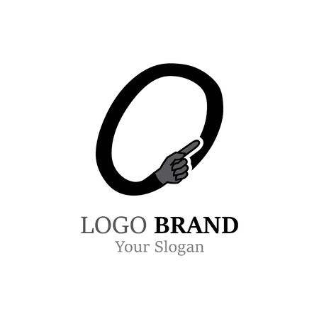 O Letter logo with Hand creative concept template design