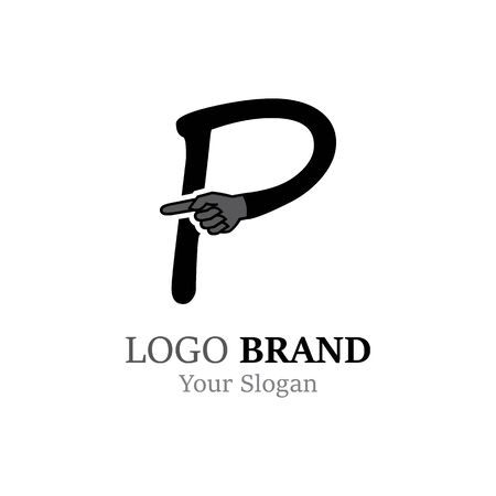 P Letter logo with Hand creative concept template design Ilustrace