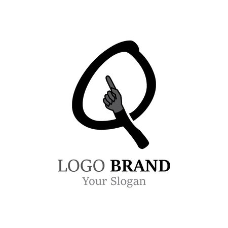 Q Letter logo with Hand creative concept template design Ilustrace