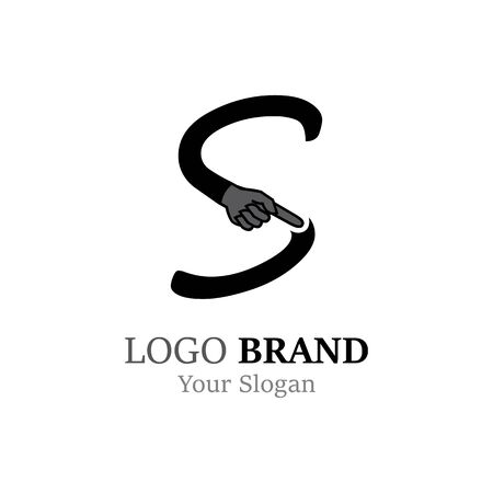 S Letter logo with Hand creative concept template design Ilustrace