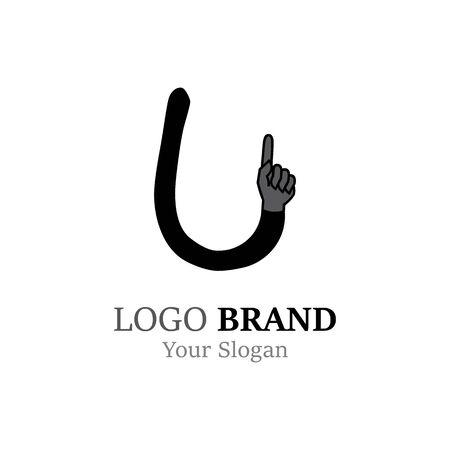 U Letter logo with Hand creative concept template design Ilustrace