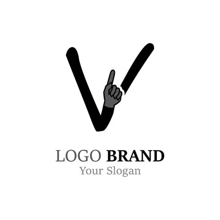 V Letter logo with Hand creative concept template design
