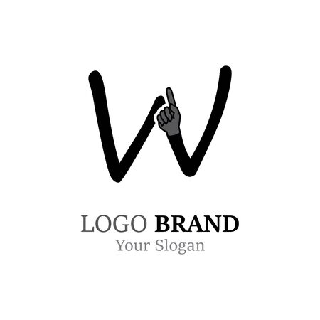W Letter logo with Hand creative concept template design