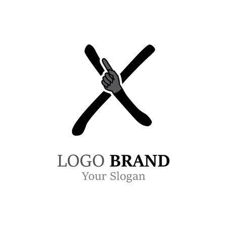 X Letter logo with Hand creative concept template design Ilustrace