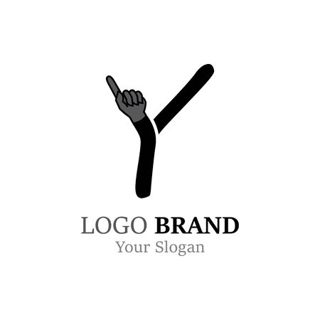 Y Letter logo with Hand creative concept template design Ilustrace