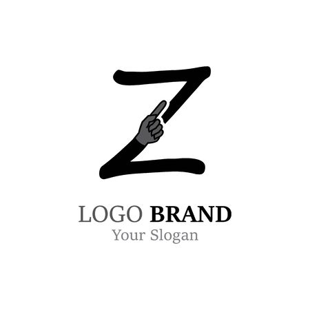 Z Letter logo with Hand creative concept template design