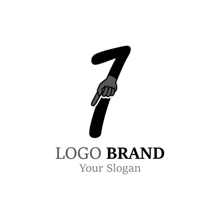 Number 1  with hand logo or symbol template design