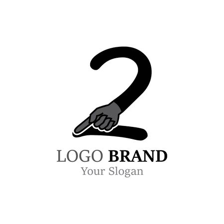 Number 2  with hand logo or symbol template design