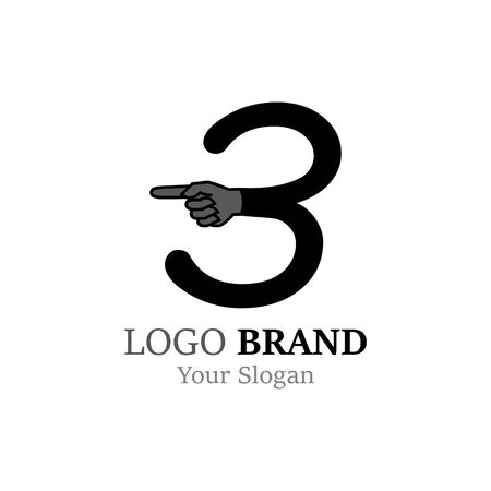 Number 3 with hand logo or symbol template design Illustration