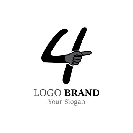 Number 4 with hand logo or symbol template design Illustration