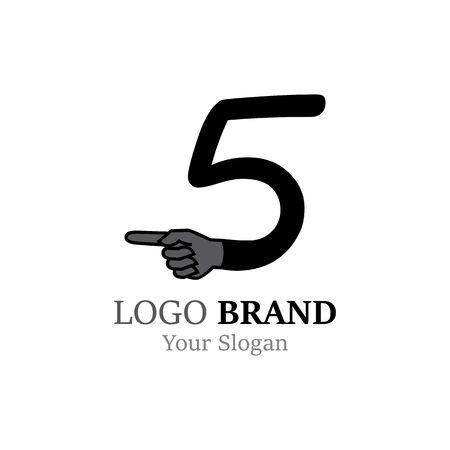 Number 5 with hand logo or symbol template design Illustration