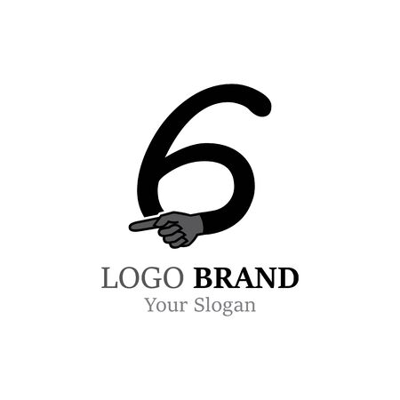 Number 6 with hand logo or symbol template design