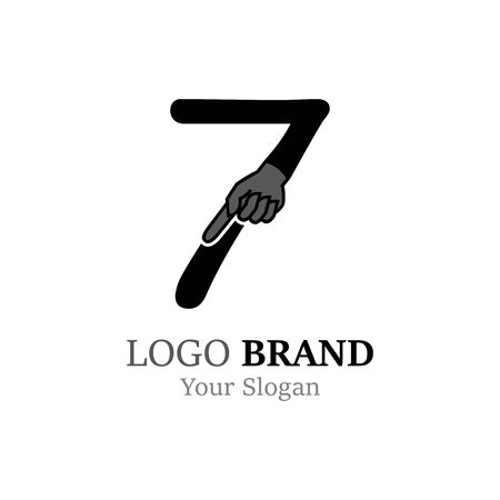 Number 7 with hand logo or symbol template design Illustration