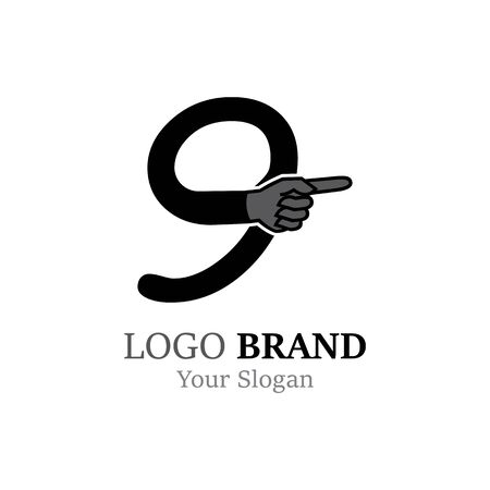 Number 9 with hand logo or symbol template design