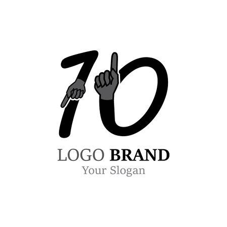 Number 10 with hand logo or symbol template design Illustration