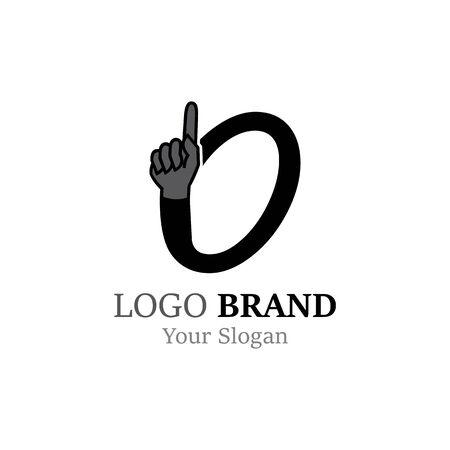 Number 0 with hand logo or symbol template design Illustration