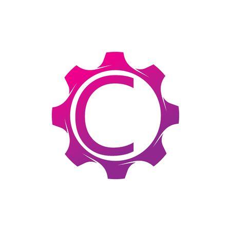 C Letter logo creative concept template design Illusztráció
