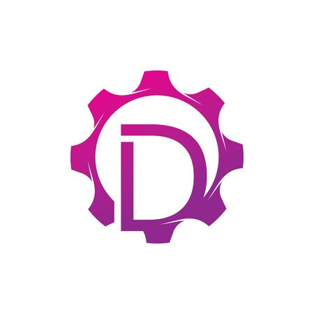 D Letter logo creative concept template design Illusztráció
