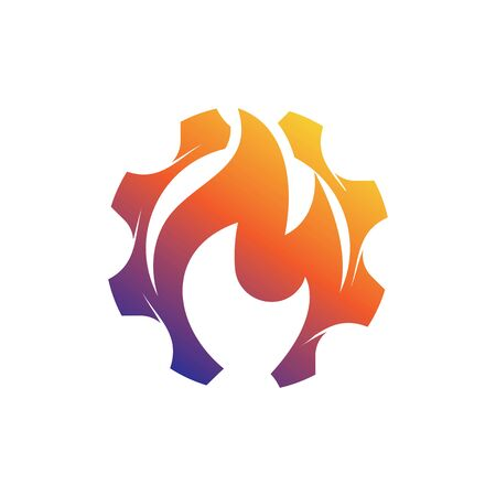 Gear Fire Logo Template vector icon illustration design 矢量图像