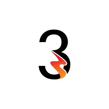 Number 3  logo or symbol template design Ilustrace