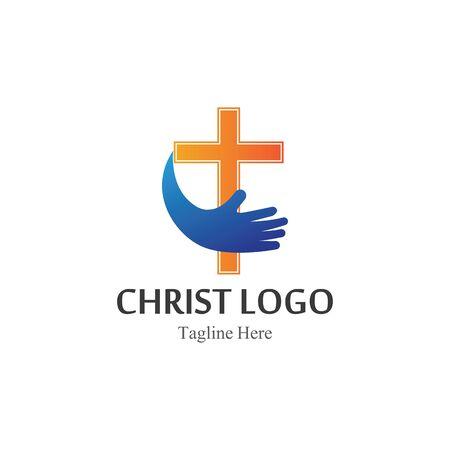 Vettore di disegno del modello di logo di Cristo, icona semplice creativa