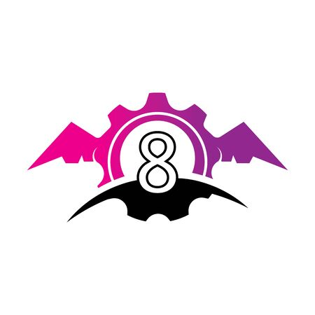 Number 8 concept Wings logo or symbol template Фото со стока - 133838949