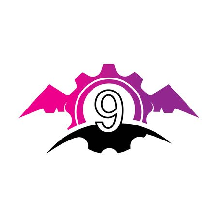 Number 9 concept Wings logo or symbol template Фото со стока - 133838951