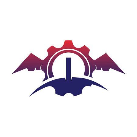 I Letter wings logo icon creative concept template design