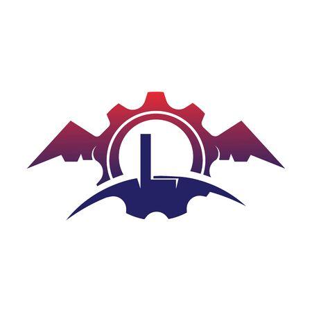 L Letter wings logo icon creative concept template design