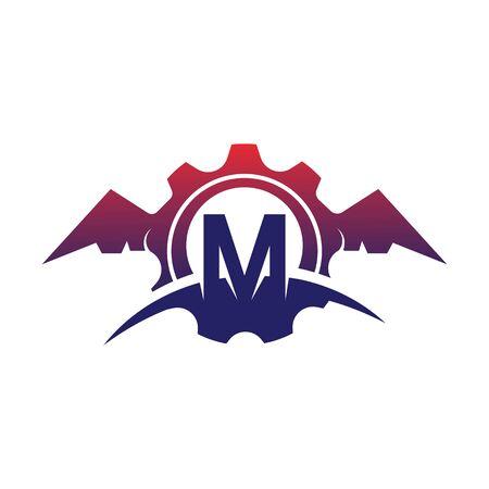 M Letter wings logo icon creative concept template design