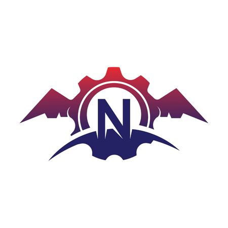 N Letter wings logo icon creative concept template design