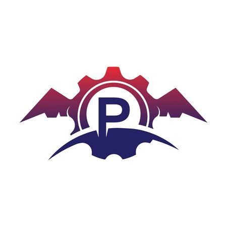 P Letter wings logo icon creative concept template design