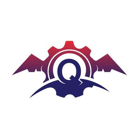 Q Letter wings logo icon creative concept template design