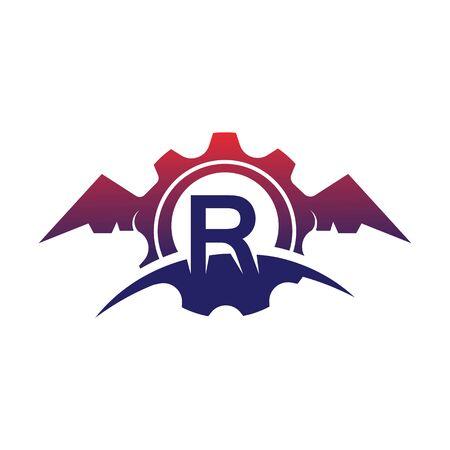 R Letter wings logo icon creative concept template design Фото со стока - 133838962