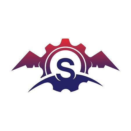 S Letter wings logo icon creative concept template design Фото со стока - 133838963