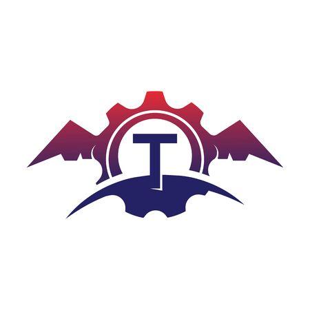 T  Letter wings logo icon creative concept template design Фото со стока - 133838965