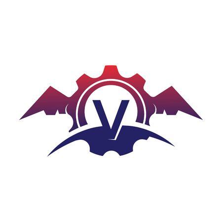 V Letter wings logo icon creative concept template design Stok Fotoğraf - 133839179