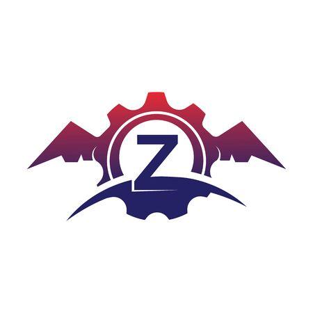 Z Letter wings logo icon creative concept template design Иллюстрация