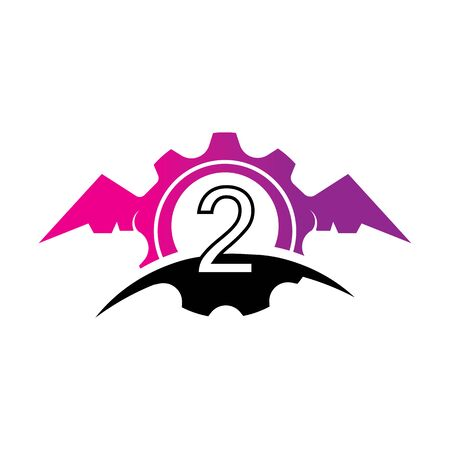 Number 2 concept Wings logo or symbol template