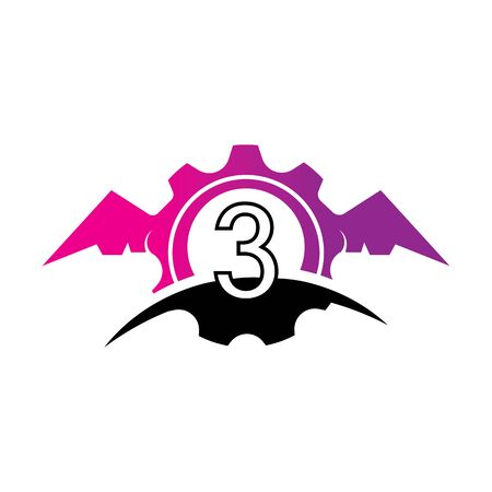 Number 3 concept Wings logo or symbol template Фото со стока - 133839191