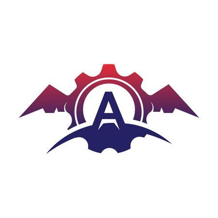A Letter wings logo icon creative concept template design Иллюстрация