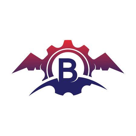 B Letter wings logo icon creative concept template design