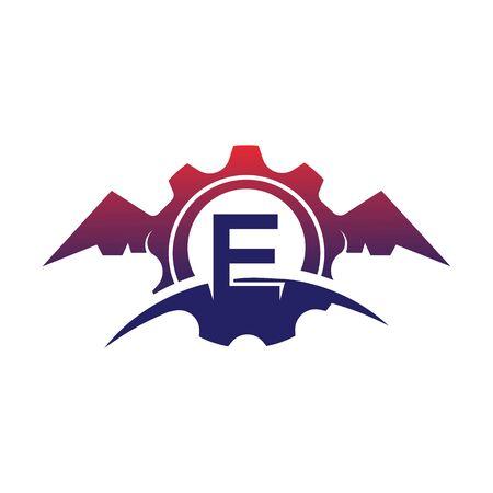 E Letter wings logo icon creative concept template design Stok Fotoğraf - 133839201