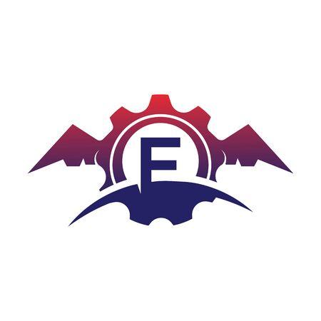 F Letter wings logo icon creative concept template design