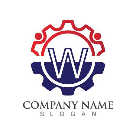 W Letter logo or symbol creative template design Ilustrace